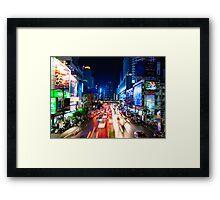 Night view over Bangkok city, Thailand Framed Print