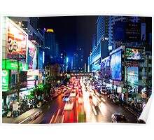 Night view over Bangkok city, Thailand Poster