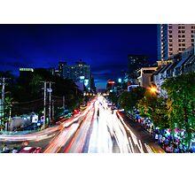 Night view over Bangkok city, Thailand Photographic Print