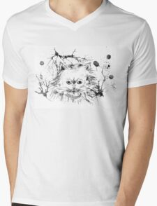 Persian Cat - Black and White Abstract Ink  Mens V-Neck T-Shirt