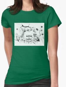 Persian Cat - Black and White Abstract Ink  Womens Fitted T-Shirt