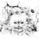 Persian Cat - Black and White Abstract Ink  by Michelle Wrighton