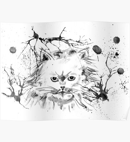 Persian Cat - Black and White Abstract Ink  Poster