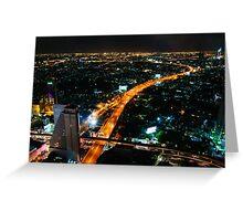 Night view over Bangkok city, Thailand Greeting Card