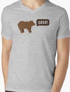 GRRR grizzly brown bear growling Mens V-Neck T-Shirt