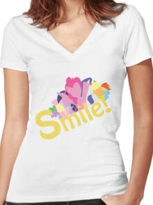 Smile! with Pinkie Pie Women's Fitted V-Neck T-Shirt