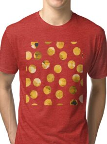 Hand drawn watercolor pattern  with watercolor golden spots. Tri-blend T-Shirt