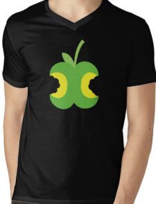 Twice bitten apple fruit with bites taken out Mens V-Neck T-Shirt
