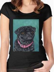 Pretty in Pink - Pug Dog oil painting by Michelle Wrighton Women's Fitted Scoop T-Shirt