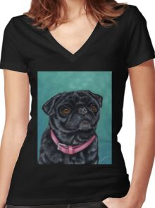 Pretty in Pink - Pug Dog oil painting by Michelle Wrighton Women's Fitted V-Neck T-Shirt