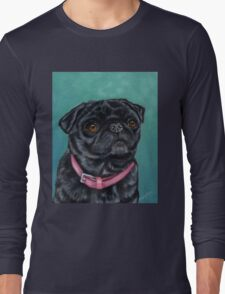 Pretty in Pink - Pug Dog oil painting by Michelle Wrighton Long Sleeve T-Shirt