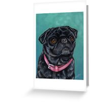 Pretty in Pink - Pug Dog oil painting by Michelle Wrighton Greeting Card