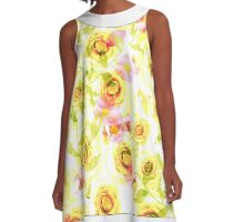 Yellow floral pattern . A-Line Dress