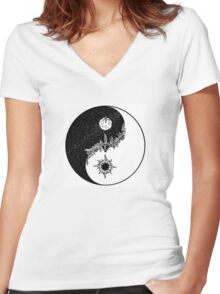 Yin Yang for Day/Night Women's Fitted V-Neck T-Shirt