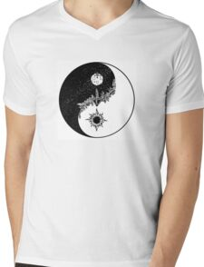 Yin Yang for Day/Night Mens V-Neck T-Shirt