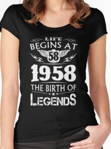 Life Begins At 58 1958 The Birth Of Legends Women's Fitted Scoop T-Shirt