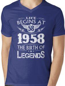 Life Begins At 58 1958 The Birth Of Legends Mens V-Neck T-Shirt