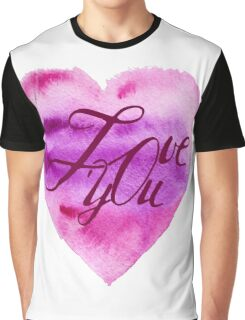 Love you. Heart, watercolor, elements for your valentines.  Graphic T-Shirt