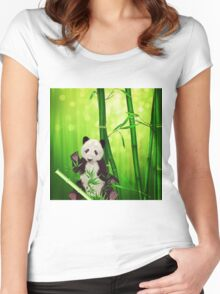 Asia Panda Bear Women's Fitted Scoop T-Shirt