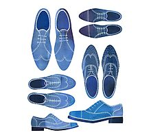 Blue Brogue Shoes Photographic Print