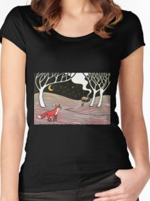 Stargazing - Fox in the Night Women's Fitted Scoop T-Shirt