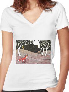 Stargazing - Fox in the Night Women's Fitted V-Neck T-Shirt