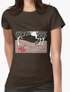 Stargazing - Fox in the Night Womens Fitted T-Shirt