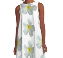 Frangipani - White and Yellow A-Line Dress