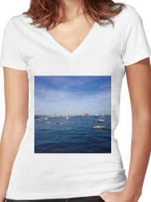 Boston Harbour  Women's Fitted V-Neck T-Shirt