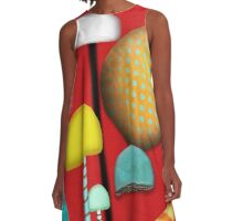 Retro Mushrooms A-Line Dress