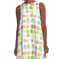 Hand-Painted Watercolor Colorful Polka Dots Rainbow Circles A-Line Dress