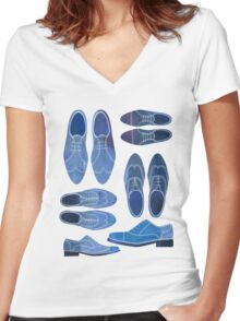 Blue Brogue Shoes Women's Fitted V-Neck T-Shirt