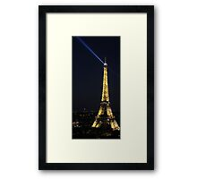 Eiffel Tower with Spotlight at Night Framed Print