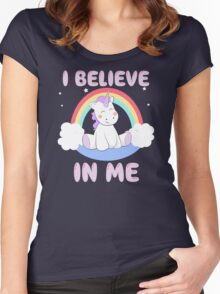 Cute Unicorn I Believe In Me T Shirt Women's Fitted Scoop T-Shirt
