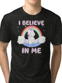 Cute Unicorn I Believe In Me T Shirt Tri-blend T-Shirt