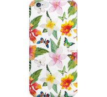 Summer tropical watercolor floral colorful butterfly iPhone Case/Skin