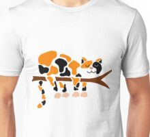 Cool Funky Funny Calico Cat in Tree Unisex T-Shirt