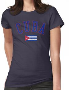 Cuba Flag Vintage Womens Fitted T-Shirt