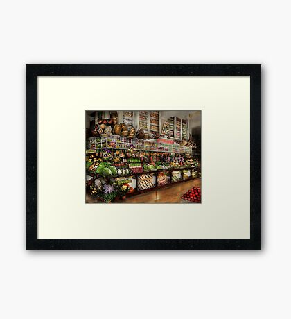 Grocery - Edward Neuman - The produce section 1905 Framed Print
