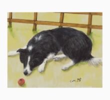 Border Collie Dog Apple Cathy Peek Animal Art Kids Tee