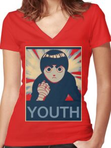 Rock Lee Youth poster Women's Fitted V-Neck T-Shirt