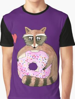 Raccoon Loves Giant Donut Graphic T-Shirt