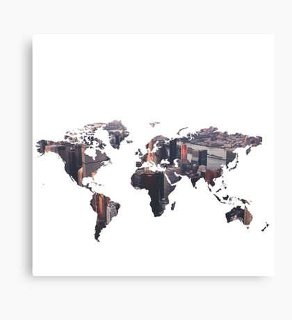 World Map - City Canvas Print