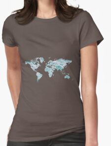 World Map - Water Womens Fitted T-Shirt