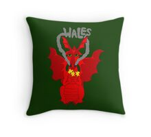 Welsh Dragon with daffodils Throw Pillow
