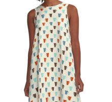 Retro coffee mugs pattern A-Line Dress