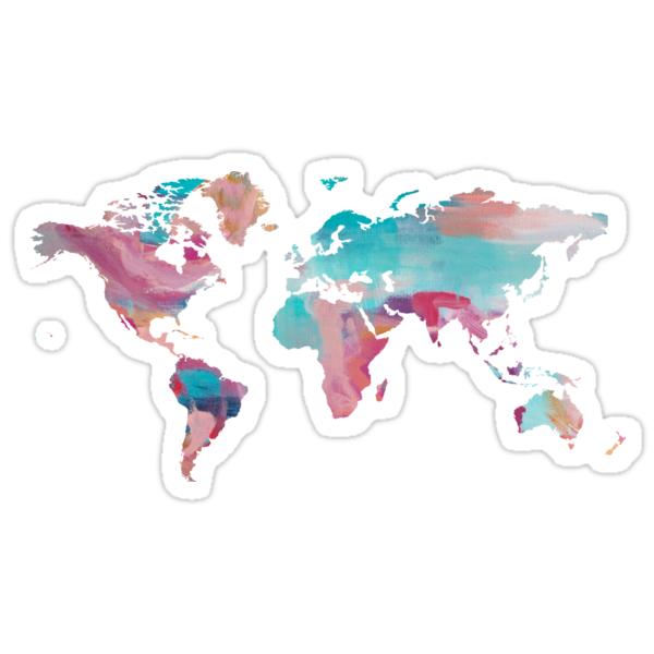 Quot World Map Paint Quot Stickers By Talia Faigen Redbubble