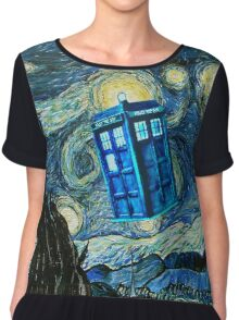 British Blue phone box painting Chiffon Top