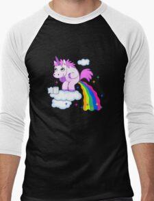 Unicorn Pup Rainbow In The Cloud Fun Pegasus Men's Baseball ¾ T-Shirt