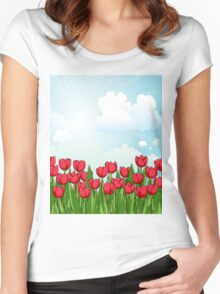 Pretty Red Tulips and Sky Women's Fitted Scoop T-Shirt